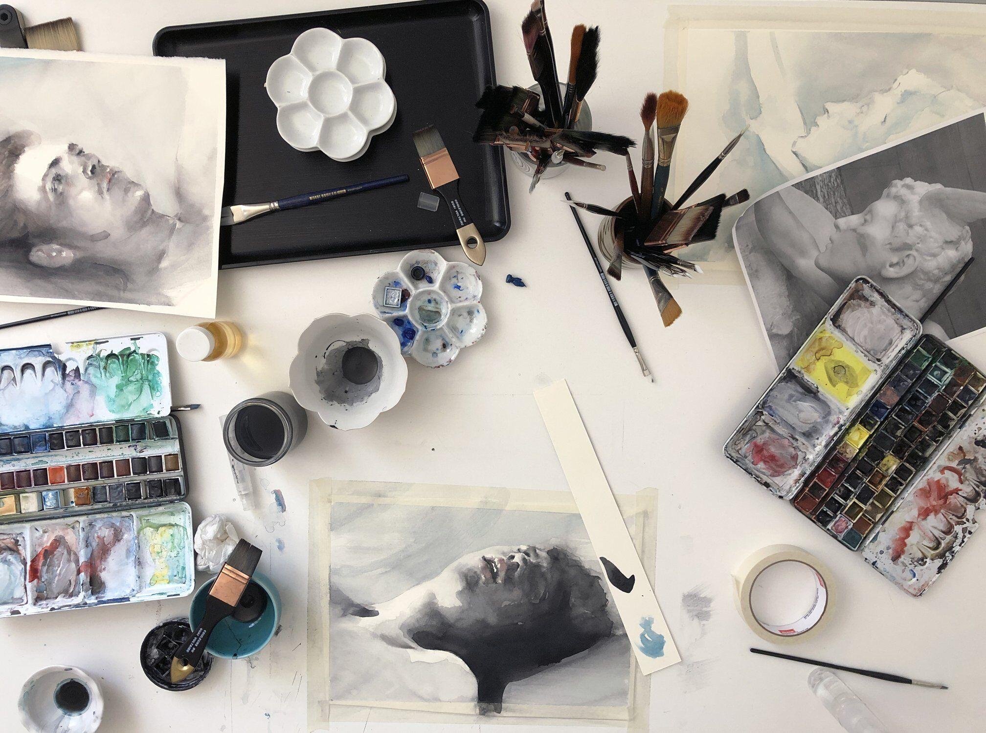 Paul P. watercolor table