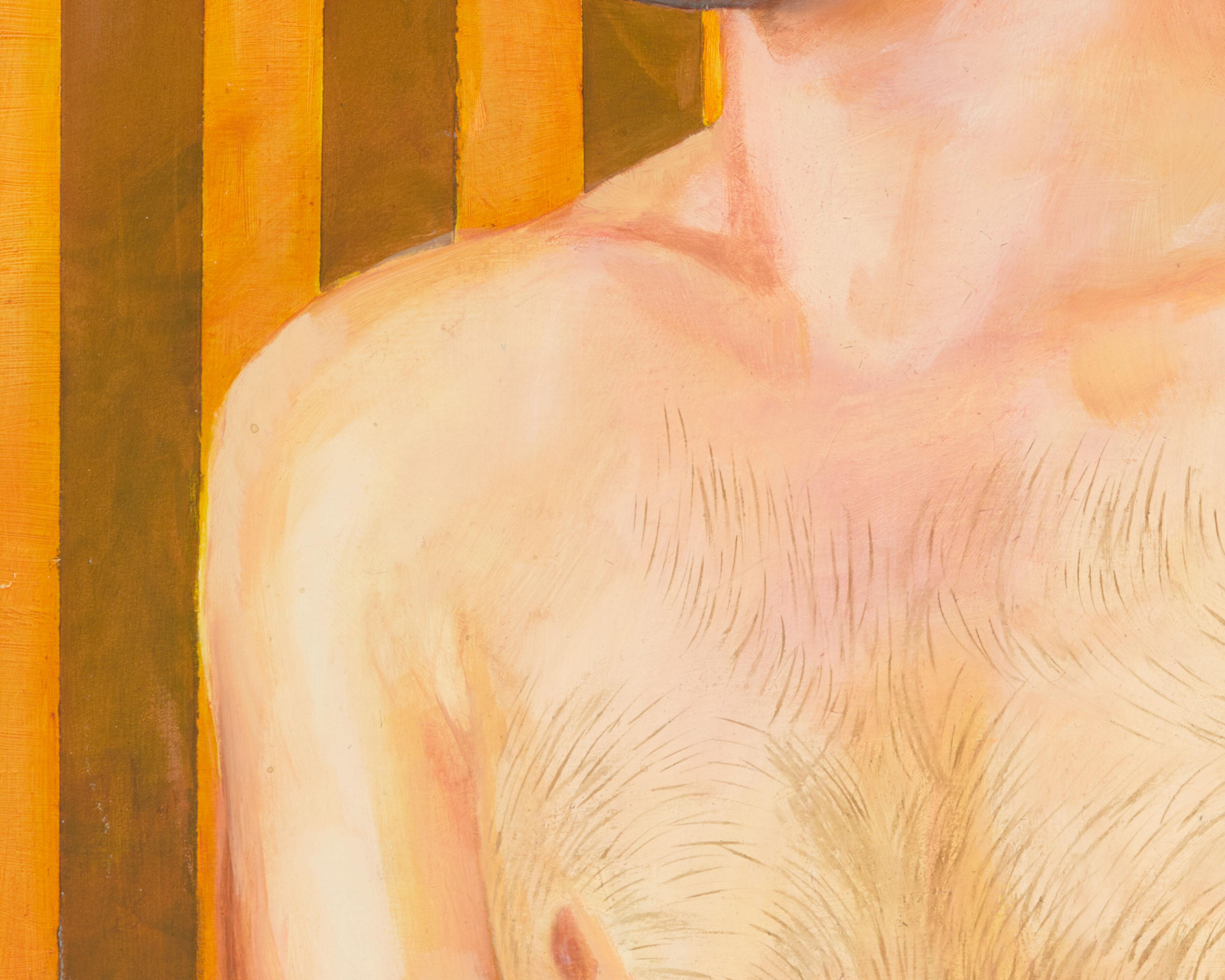 gilbert lewis untitled striped portrait
