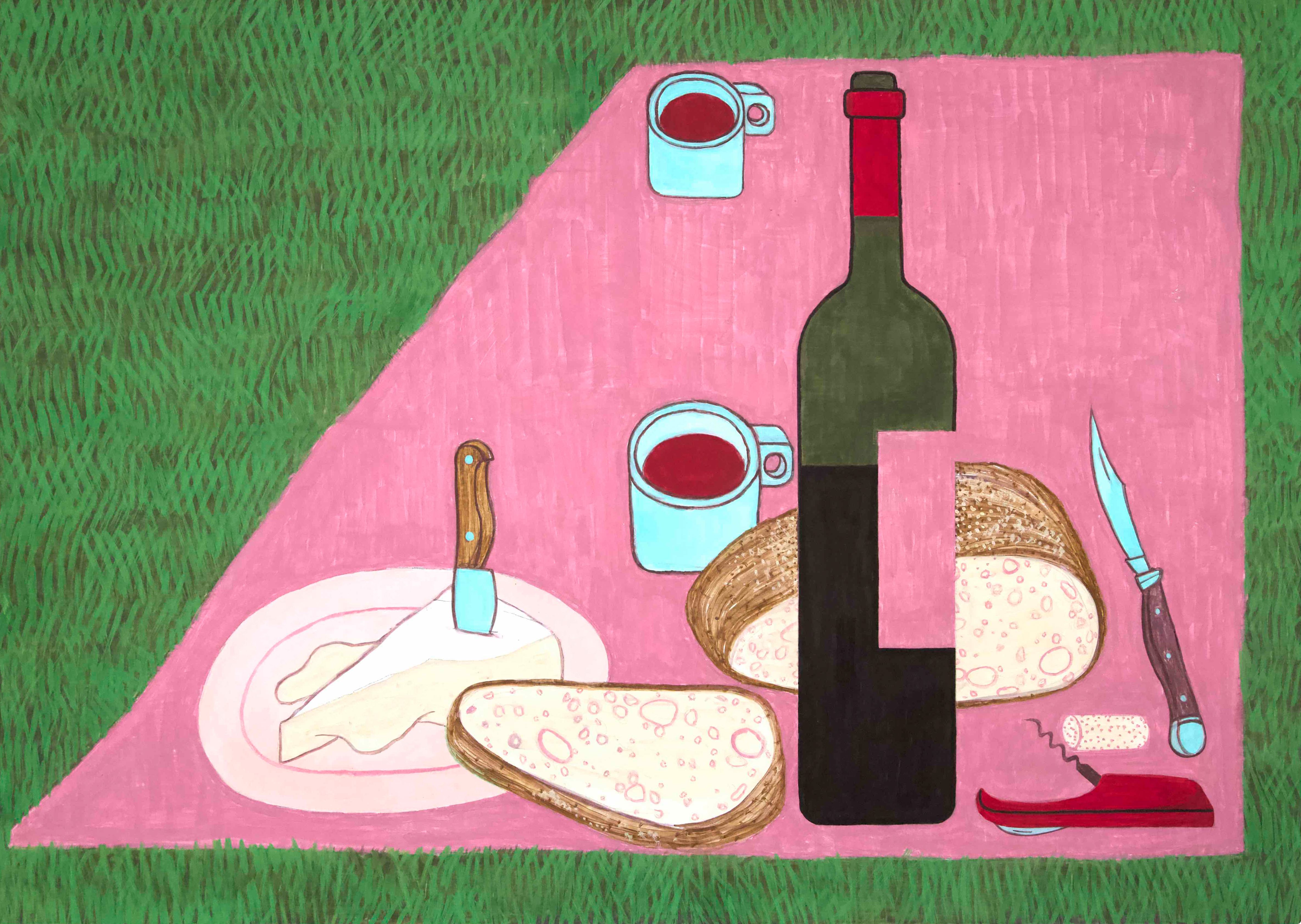 yves tessier red wine and cheese picnic